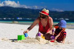 Family building sandcastle Stock Photography