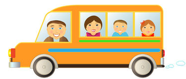 Family in bus. Cartoon cheerful family moving in funny bus Stock Photography