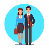 Family business couple standing together. Man hugging woman shoulder. Flat style vector illustration Royalty Free Stock Photos