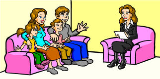 Family / Businesswoman. Reporter meeting with a family Royalty Free Stock Images