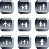 Family buttons. Collection of family icons set on keypad style buttons Royalty Free Stock Photography