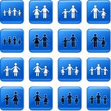 Family buttons. Collection of blue square family rollover buttons Stock Images