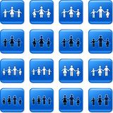 Family buttons. Collection of blue square family rollover buttons Stock Photos