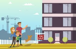 Family Buy Real Estate House. Cartoon Characters. royalty free illustration