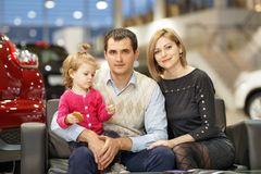 Family buying new car Stock Photo