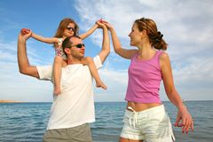 Family By The Sea Stock Images