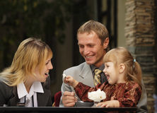 Family in cafe stock photos