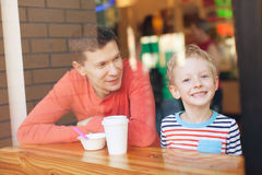 Family in cafe Stock Images