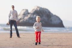 Family at californian beach Royalty Free Stock Photo