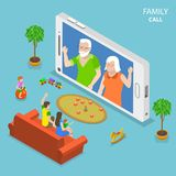 Family call flat isometric vector concept. Young family with 2 kids are having video call with thair parents using the smartphone Royalty Free Stock Photo