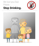 Family campaign daddy stop drinking Royalty Free Stock Images