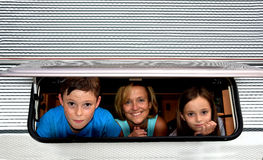 Family in camper Stock Photo
