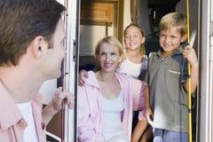 Family in camper van stock photos
