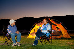 Family Camping. In the Rocky Mountains Royalty Free Stock Images