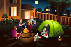Family Camping in the Backyard royalty free stock photo
