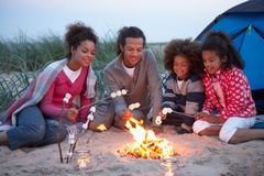 Family Camping On Beach And Toasting Marshmallows Stock Photos