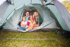 Family at camping Royalty Free Stock Images