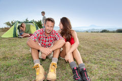 Family camping in countryside Stock Photo