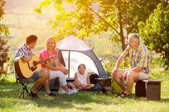 Family camping in the countryside royalty free stock photography