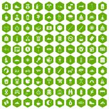 100 family camping icons hexagon green. 100 family camping icons set in green hexagon isolated vector illustration Royalty Free Stock Images