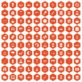 100 family camping icons hexagon orange Royalty Free Stock Photos
