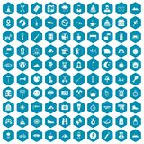 100 family camping icons sapphirine violet. 100 family camping icons set in sapphirine hexagon isolated vector illustration Vector Illustration