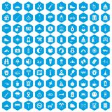100 family camping icons set blue. 100 family camping icons set in blue hexagon isolated vector illustration vector illustration