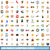 100 family camping icons set, cartoon style. 100 family camping icons set in cartoon style for any design vector illustration Stock Illustration