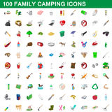 100 family camping icons set, cartoon style. 100 family camping icons set in cartoon style for any design vector illustration vector illustration