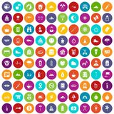 100 family camping icons set color. 100 family camping icons set in different colors circle isolated vector illustration stock illustration