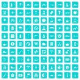 100 family camping icons set grunge blue. 100 family camping icons set in grunge style blue color isolated on white background vector illustration vector illustration