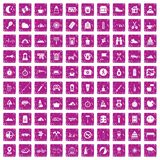 100 family camping icons set grunge pink. 100 family camping icons set in grunge style pink color isolated on white background vector illustration Vector Illustration