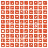 100 family camping icons set grunge orange. 100 family camping icons set in grunge style orange color isolated on white background vector illustration vector illustration