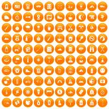 100 family camping icons set orange. 100 family camping icons set in orange circle isolated on white vector illustration stock illustration