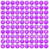 100 family camping icons set purple. 100 family camping icons set in purple circle isolated on white vector illustration stock illustration