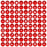 100 family camping icons set red. 100 family camping icons set in red circle isolated on white vector illustration Stock Images
