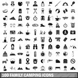 100 family camping icons set, simple style. 100 family camping icons set in simple style for any design vector illustration Royalty Free Stock Image