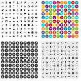 100 family camping icons set variant. 100 family camping icons set in 4 variant for any web design isolated on white royalty free illustration