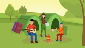 Family camping illustration. Parents with son sitting near campfire and eating marshmallows. Father playing guitar near big tents flat style vector illustration stock illustration