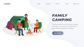 Family camping landing page. Website template parents with son sitting near campfire and eating marshmallows. Father playing guitar near big tents flat style royalty free illustration