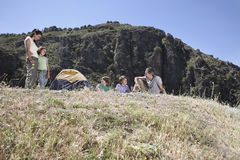 Family Camping On Mountain Top Stock Images