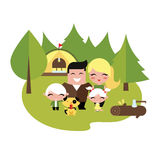 Family camping outdoors Stock Photography