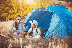 Family camping in the park Royalty Free Stock Image