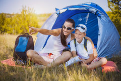 Family camping in the park Royalty Free Stock Photography