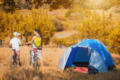 Family camping in the park Royalty Free Stock Photo