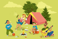 Family camping. Roasting marshmallow and singing, tent on the background, EPS 8 vector illustration, no transparencies Royalty Free Stock Photo
