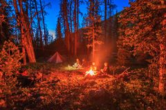 A family camping in the Uinta Mountains, Utah, USA. Family camping in the forest under the milky way, Utah, USA Royalty Free Stock Images