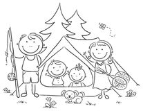 Family camping in the woods. Happy family camping in the woods Royalty Free Stock Image