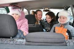 Family in car stock image