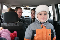 Family in car. Happy family in the car Royalty Free Stock Image